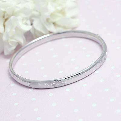 Adult Floral Engraved Sterling Bangle silver bangle bracelet
