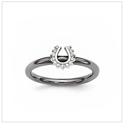 Diamond horseshoe ring for teens in black sterling silver.