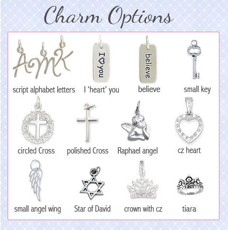 Charm options for personalized heart necklace.