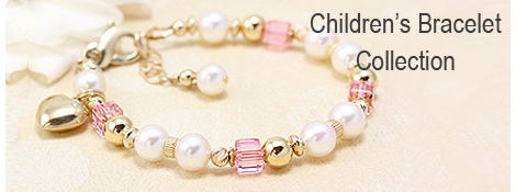 Baby bracelet and child's bracelet in cultured pearls, 14kt gold, and pink swarovski cube crystal.