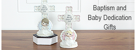 Precious Moments baby girl and baby boy Cross baptism gifts.