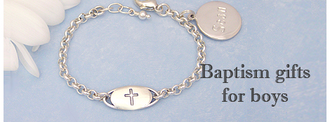 Sterling Baptism bracelet for boys with engraved Cross.