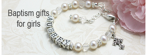 Pearl and crystal Baptism bracelet for girls.