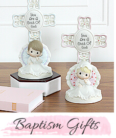 Baptism gifts for boys and girls, Precious Moments boy and girl table top Crosses.