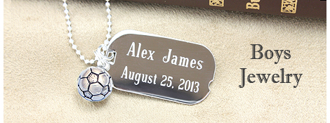 Boys engraved sterling silver dog tag with soccer ball charm.
