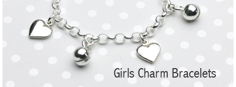 Silver charm bracelet with hearts and bells charms.