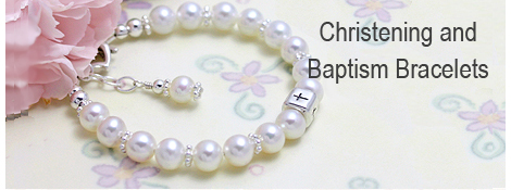 White pearl Baptism bracelet for baby girls with sterling silver rounded Cross bead.