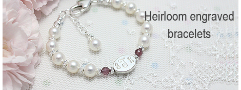 White pearl bracelet for girls with personalized engraving and genuine birthstones. A Little Sparkle pearl bracelet for babies and children is a customer favorite.